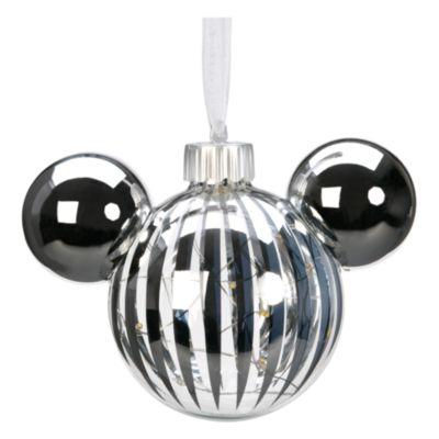 Disneyland Paris Boule tête de Mickey lumineuse argentée à suspendre