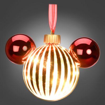 Disneyland Paris Boule tête de Mickey lumineuse rouge à suspendre