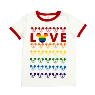 Disney Store T-shirt Mickey Love pour enfants, Rainbow Disney