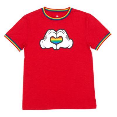 Disney Store Mickey Mouse Rainbow Heart Rainbow Disney T-Shirt For Adults