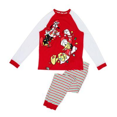 Disney Store - Donald und Goofy - Pyjama im Weihnachtsdesign aus Bio-Baumwolle für Erwachsene
