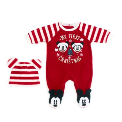 Disney Store Mickey and Minnie Festive Baby Body Suit and Hat