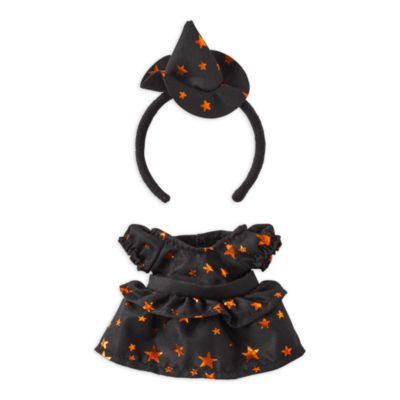 Vestido negro y naranja, y diadema con sombrero de bruja, peluche pequeño nuiMOs, Disney Store