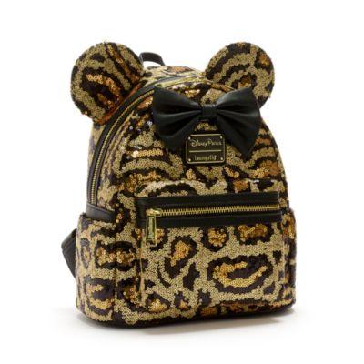Loungefly - Minnie Maus - Paillettenbesetzter Mini-Rucksack in Leopardenmuster