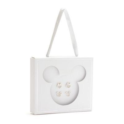 Disney Store Lot de 2paires de clous d'oreilles Mickey et Minnie plaquées argent