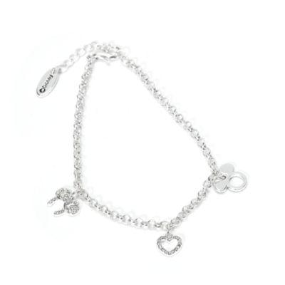 Disney Store Bracelet à breloques plaqué argent Mickey et Minnie