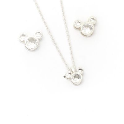 Disney Store Mickey Mouse April Birthstone Necklace and Earrings Set