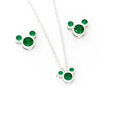 Disney Store Parure collier et clous d'oreilles Mickey, pierre porte-bonheur Mai