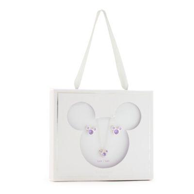 Disney Store Parure collier et clous d'oreilles Mickey, pierre porte-bonheur Juin