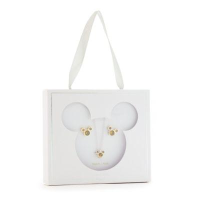 Disney Store Parure collier et clous d'oreilles Mickey, pierre porte-bonheur Août