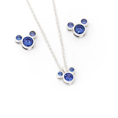 Disney Store Mickey Mouse September Birthstone Necklace and Earrings Set