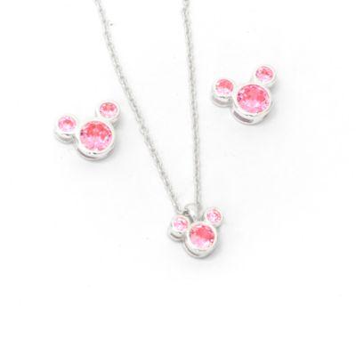 Disney Store Parure collier et clous d'oreilles Mickey, pierre porte-bonheur Octobre