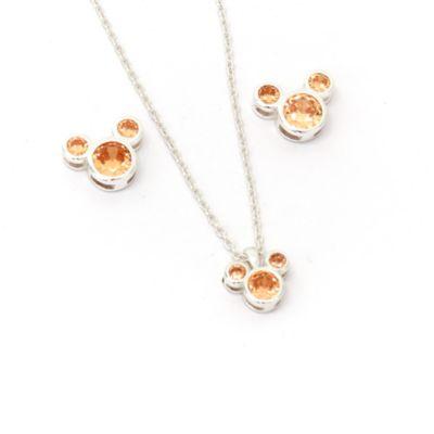 Disney Store Parure collier et clous d'oreilles Mickey, pierre porte-bonheur Novembre