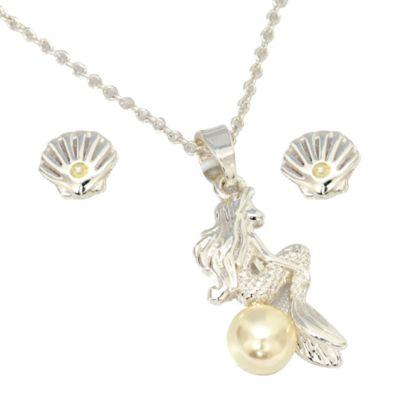 Conjunto collar y pendientes bañado en plata La Sirenita, Disney Store