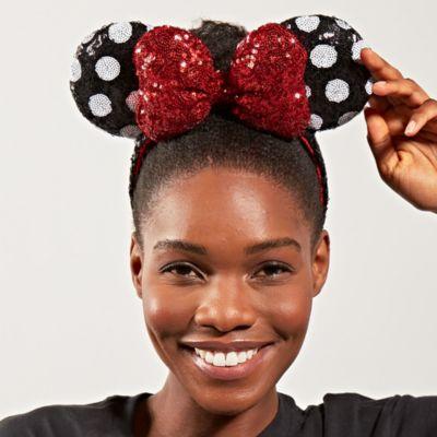 Diadema con orejas Minnie Mouse para adultos, lentejuelas rojas, negras y blancas, Walt Disney World