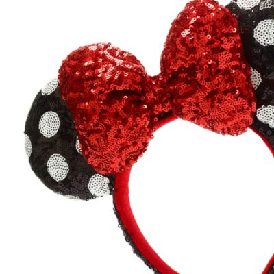 Walt Disney World Minnie Mouse Red, Black and White Sequin Ears Headband for Adults
