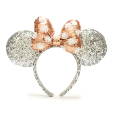 Walt Disney World Minnie Mouse Rose Gold and Silver Sequin Bow Ears Headband for Adults