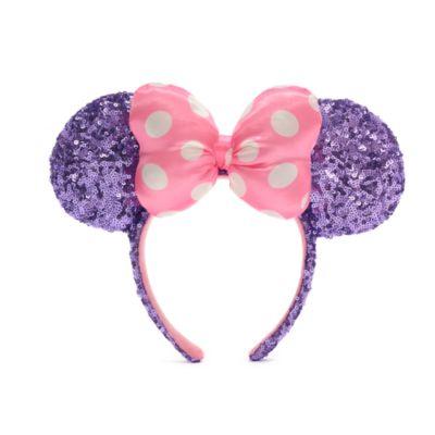 Walt Disney World diadema con orejas y lentejuelas rosas y moradas Minnie Mouse para adultos