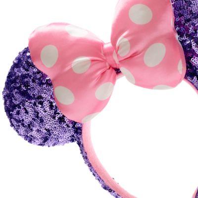 Walt Disney World - Minnie Maus - Haarreif mit Pailletten in Pink und Lila mit Ohren für Erwachsene