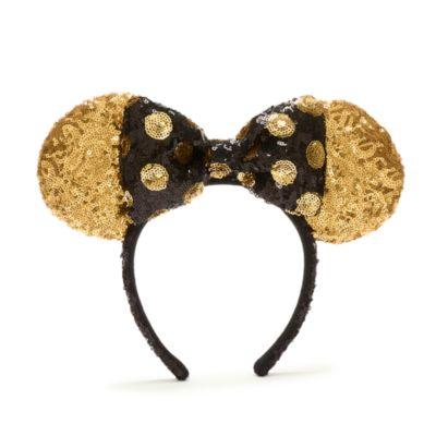 Walt Disney World Serre-tête à oreilles de Minnie avec sequins noirs et dorés pour adultes