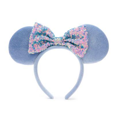 Walt Disney World - Minnie Maus - Haarreif mit Pailletten in kornblumenblau und Ohren für Erwachsene
