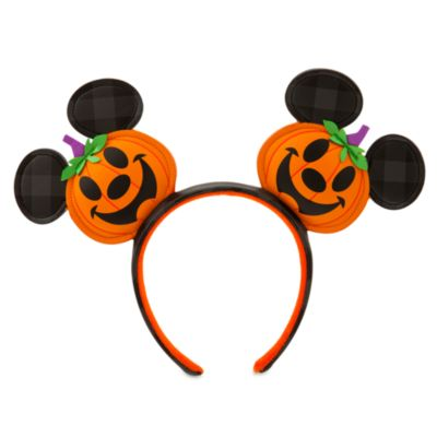 Disney Parks Mickey Mouse Jack-o'-Lantern Ears Headband For Adults