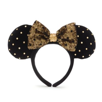Disney Parks Minnie Mouse Black and Gold Ears Headband For Adults