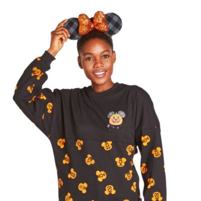 Disney Parks Minnie Mouse Buffalo Plaid Halloween Ears Headband For Adults