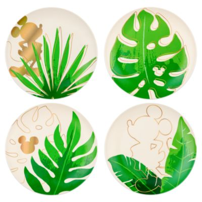 Disney Parks Mickey Mouse Tropical Hideaway Plates, Set of 4