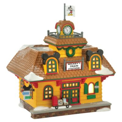 Enesco Mickey's Train Station Disney Village Figurine