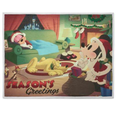 Disney Store Mickey, Minnie and Pluto Festive Reversible Fleece Throw