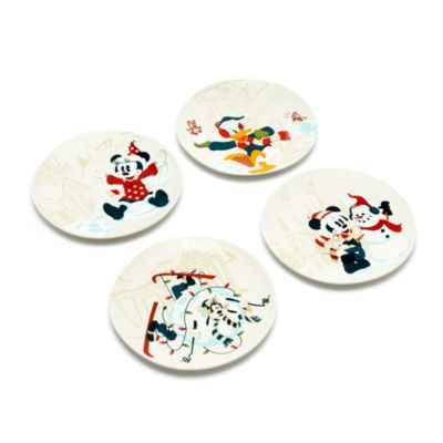 Disney Store Mickey and Friends Walt's Holiday Lodge Plates, Set of 4