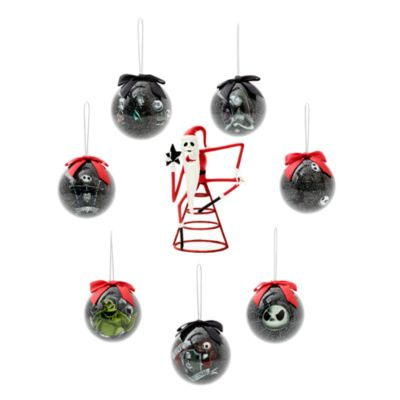 Disney Store The Nightmare Before Christmas Baubles and Tree Topper