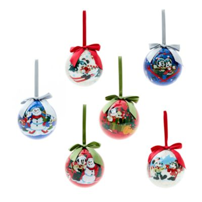 Disney Store Mickey and Minnie Mouse Christmas Baubles, Set of 6