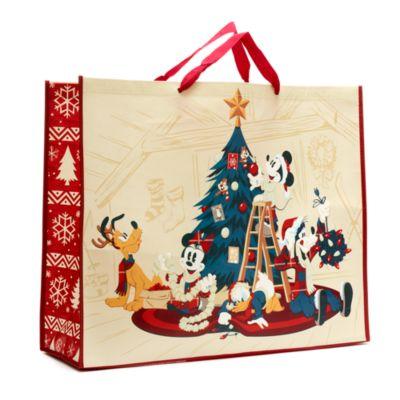 Borsa riutilizzabile extra large a tema natalizio Topolino e i suoi amici Walt's Holiday Lodge Disney Store