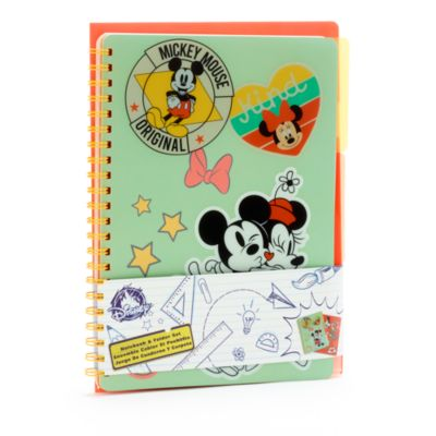 Disney Store Mickey and Minnie Notebook and Folder Set