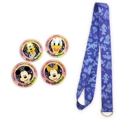 Walt Disney World Mickey and Friends 50th Anniversary Lanyard and Pins Set
